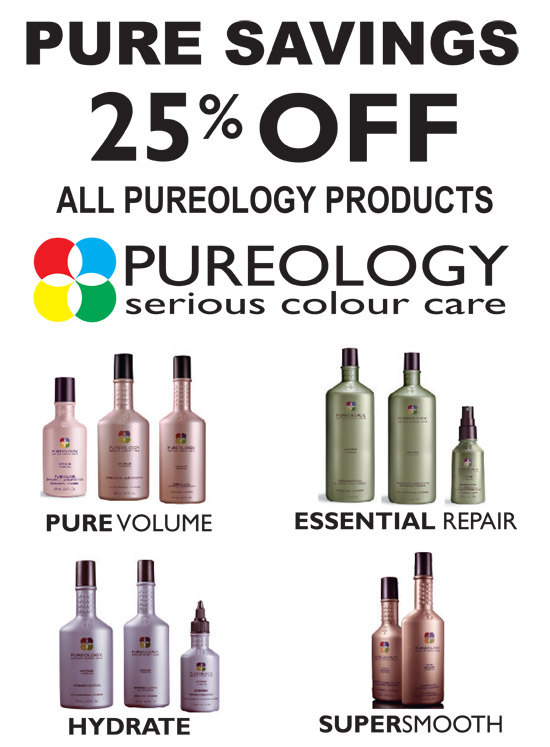 25% OFF ALL PUREOLOGY PRODUCTS